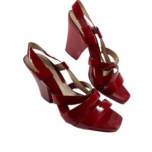 Arturo Chiang Red Patent Leather Strappy Heels 8.5